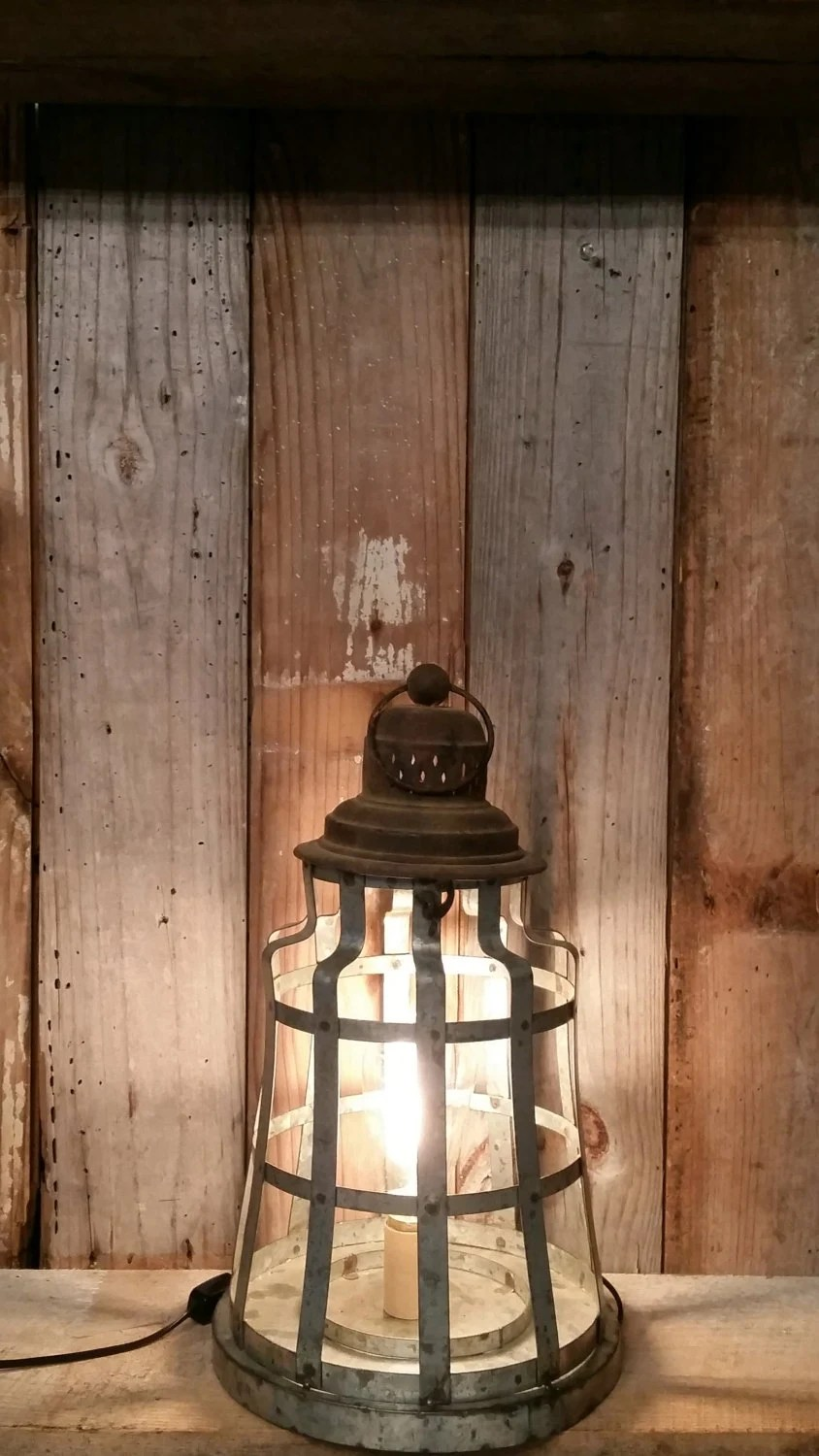 Items Similar To Shabby Chic Rustic Metal Lamp Industrial