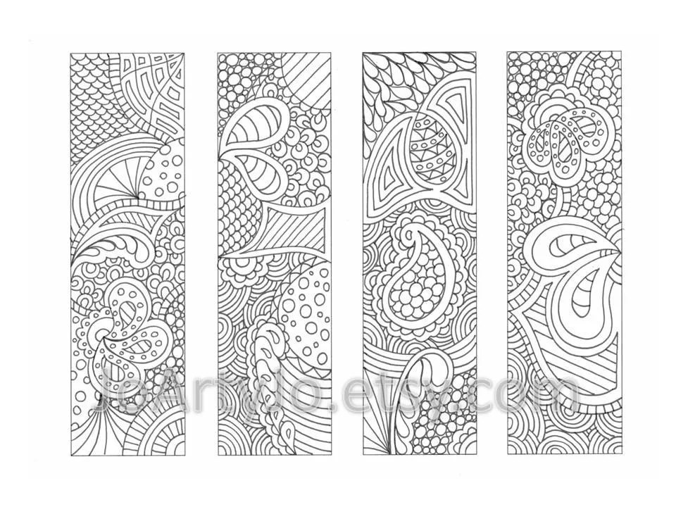 coloring page bookmarks zendoodle zentangle inspired by joartyjo