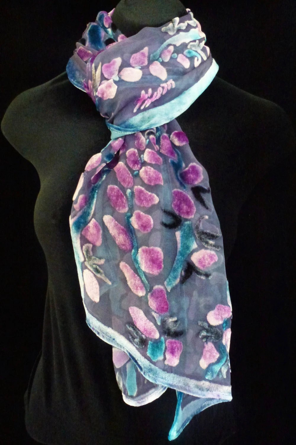 Silk Velvet Scarf Hand Painted In Pussy Willows Burn Out Design With Lavender Background