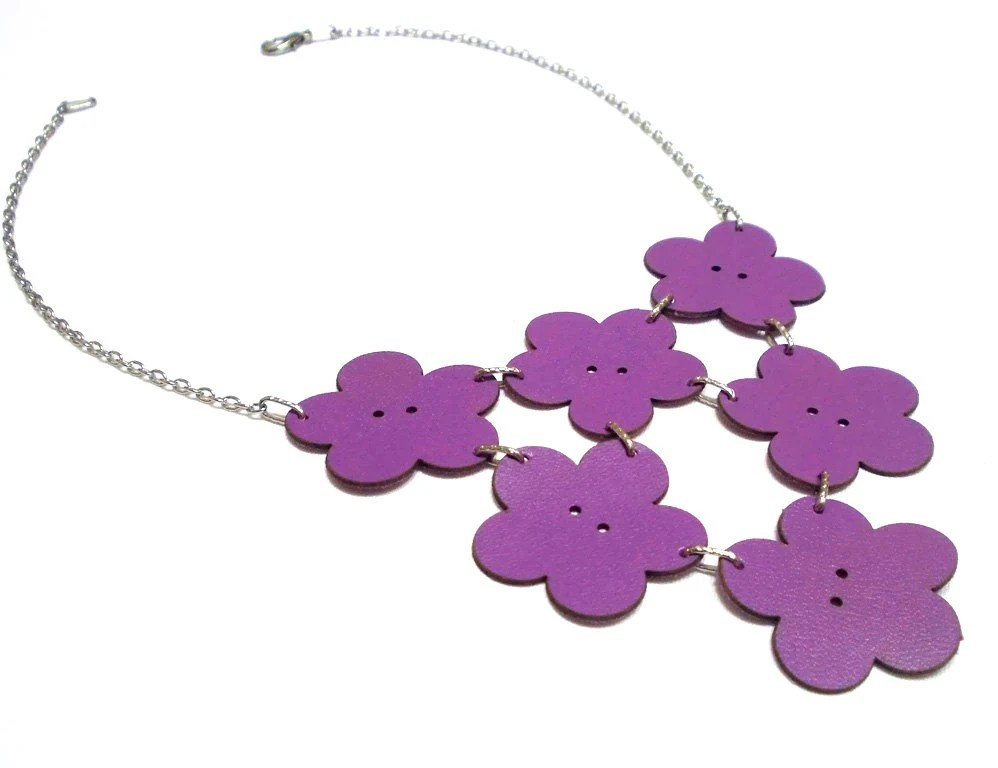 Flower Necklace, Leather Necklace, Leather Flower Necklace, Purple, Leather Jewelry, Winter Sale, Daisy Necklace, Genuine leather flower - CatsAndSheeps