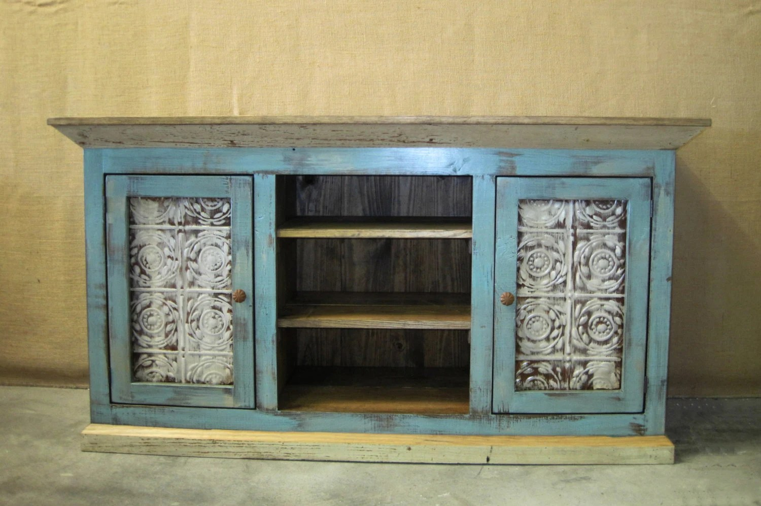 Distressed Cottage Blue Media Console TV Cabinet With Storage
