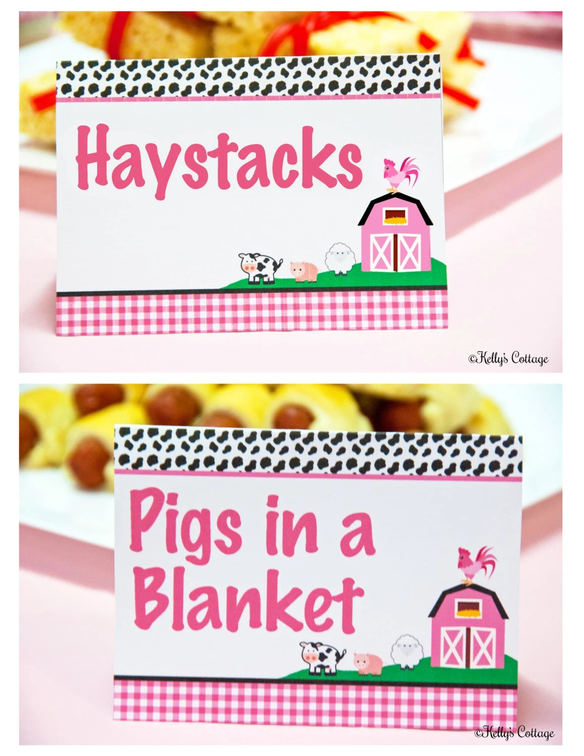 Barnyard Birthday Party Labels Instant Download Printable