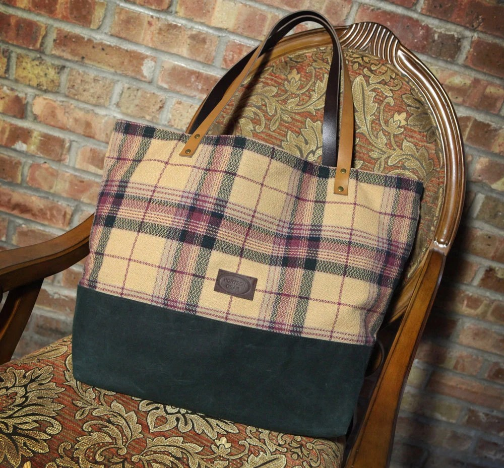 Canvas and Tapestry Tote Bag - BLACK Friday Special - IN STOCK market bag waxed canvas