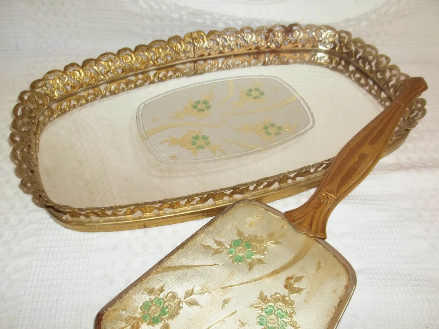 Large Mirrored Tray Vanity Mirror Tray Gold & By GraceYourNest