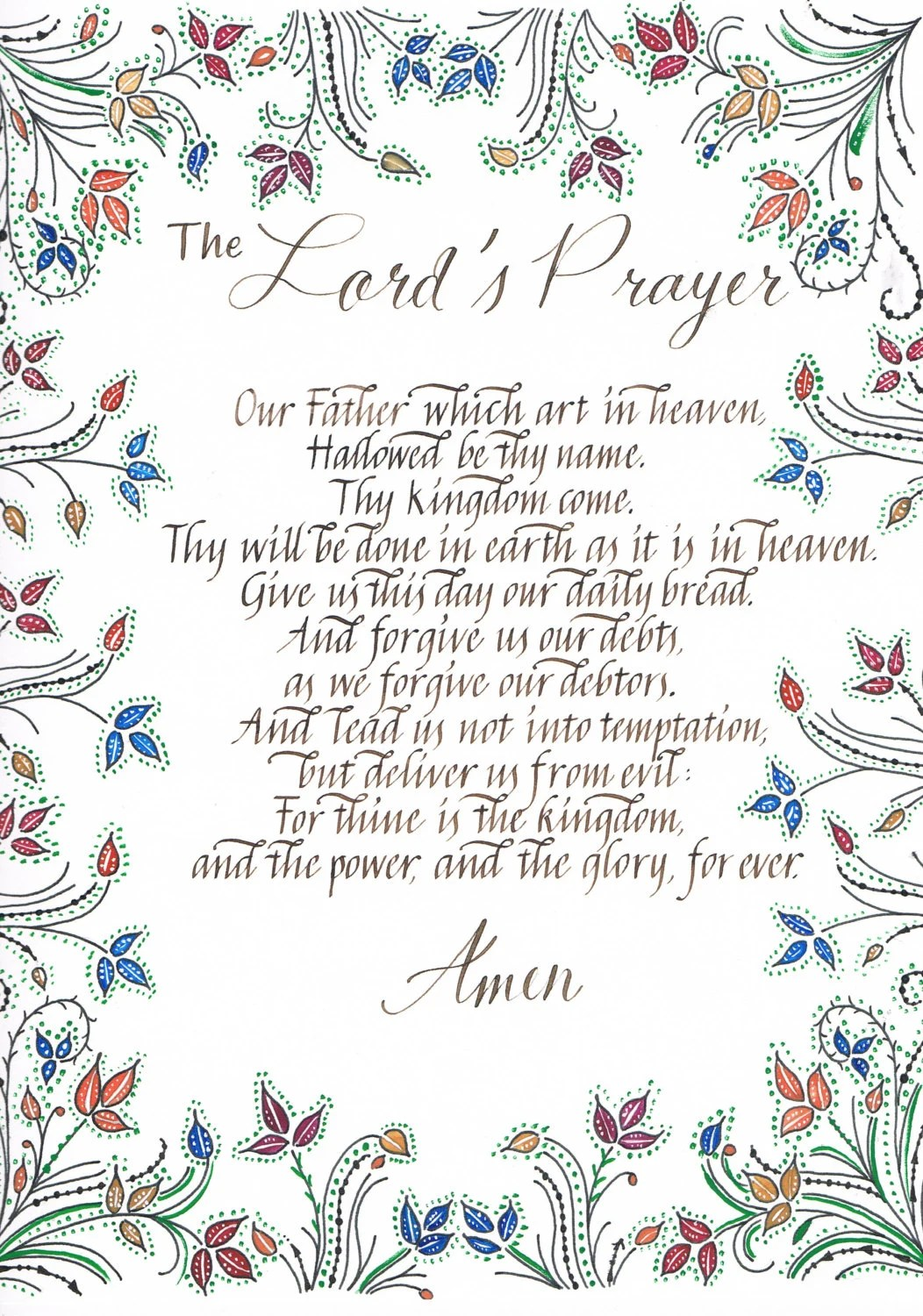 The Lord S Prayer A4 Print