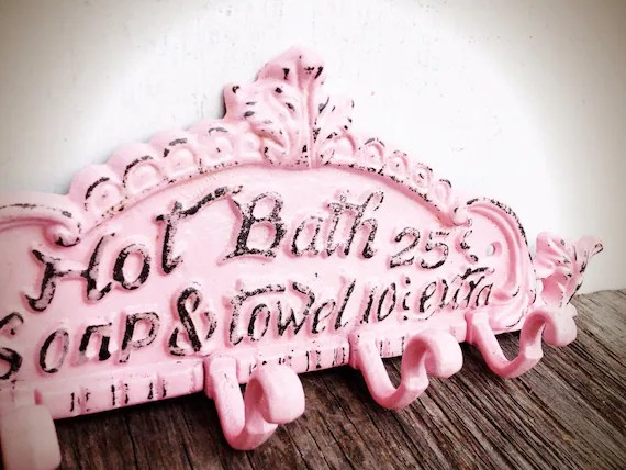 BOLD pastel powder pink BATH sign towel hook