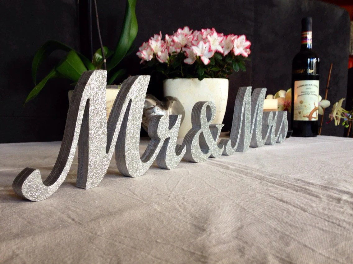 Mr & Mrs Letters Wedding Table Decoration Freestanding Mr And