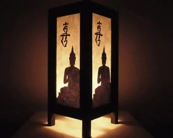 Thai Handmade Asian Oriental Chinese Buddha Paper Lamp Bedside Table Light Home Decor Bedroom