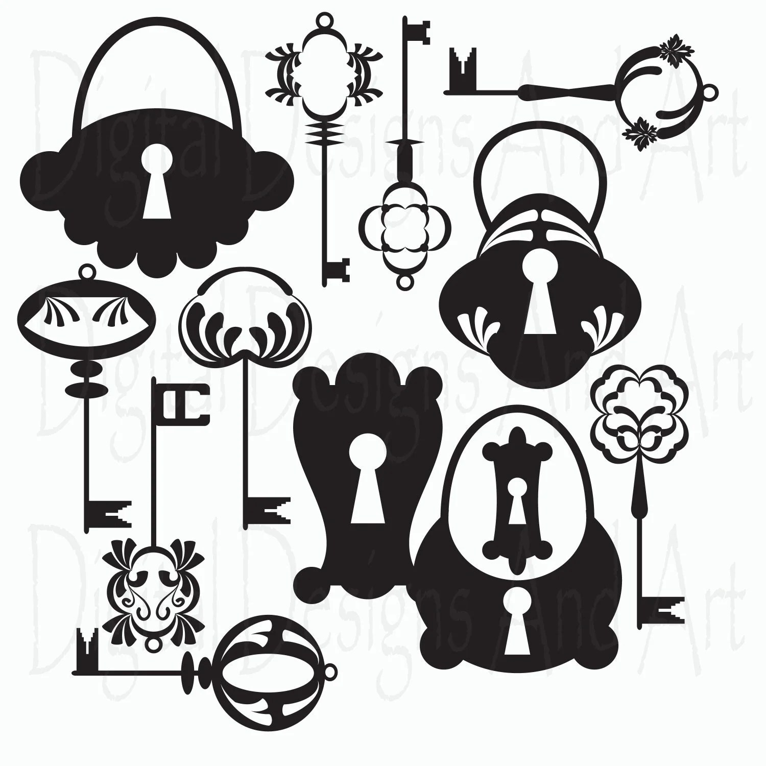 Items Similar To Keys And Locks Digital Clip Art Key