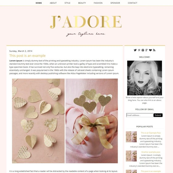 Premade Blogger Template - Instant Download - Jadore - Blogger Template - blogger theme - blog design - blogger blog template