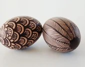 Ceramic Eggs, Set of 2 - Hand-painted in Brown and Black - Decorative Egg - Egg Home Decor