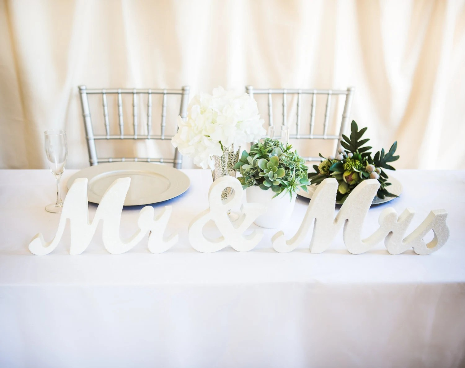 Mr And Mrs Wedding Signs For Sweetheart Table Decor Wooden