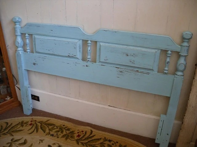 Queen Headboard In Shabby Chic Turquoise