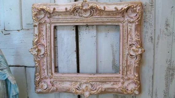 Large Pink Cream Frame Shabby Chic Ornate Wood Distressed Gold