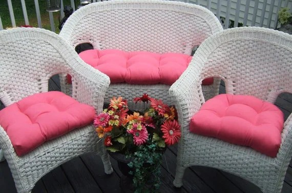 Indoor Outdoor Wicker Cushion 3 Pc Set Solid Hot