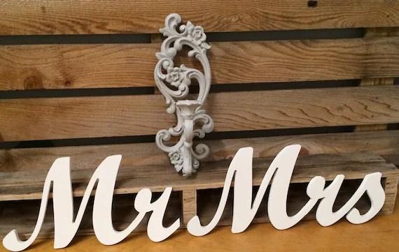 Mr Mrs Script Freestanding Wooden Letters Wedding Decor