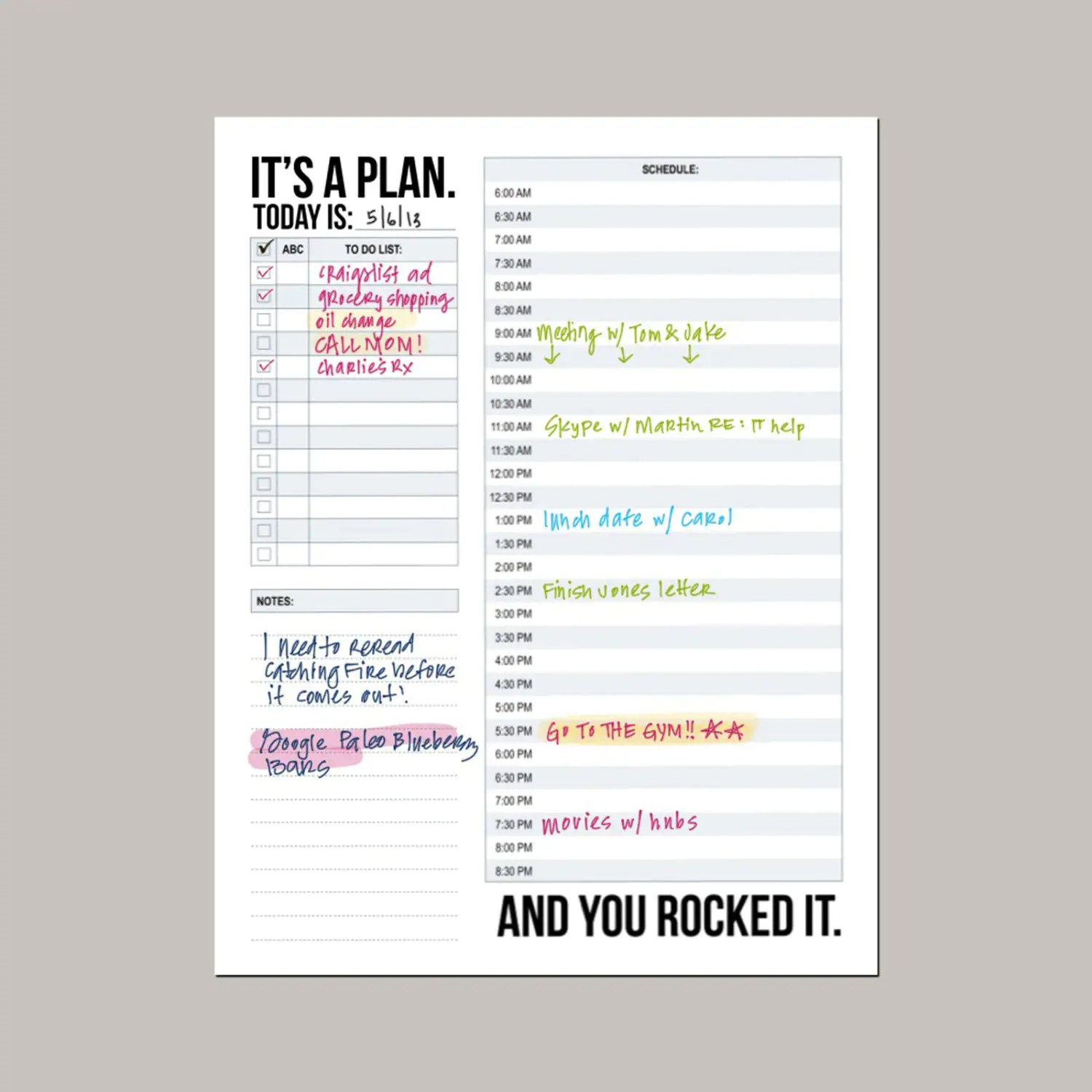 It S A Plan Daily Schedule Printable Sheet
