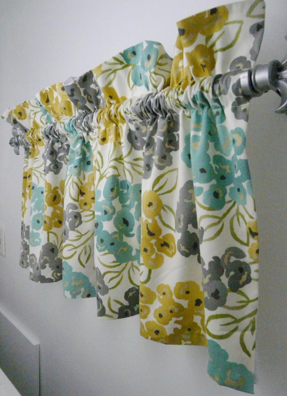 Turquoise Grey Yellow Gold Valance For The Kitchen