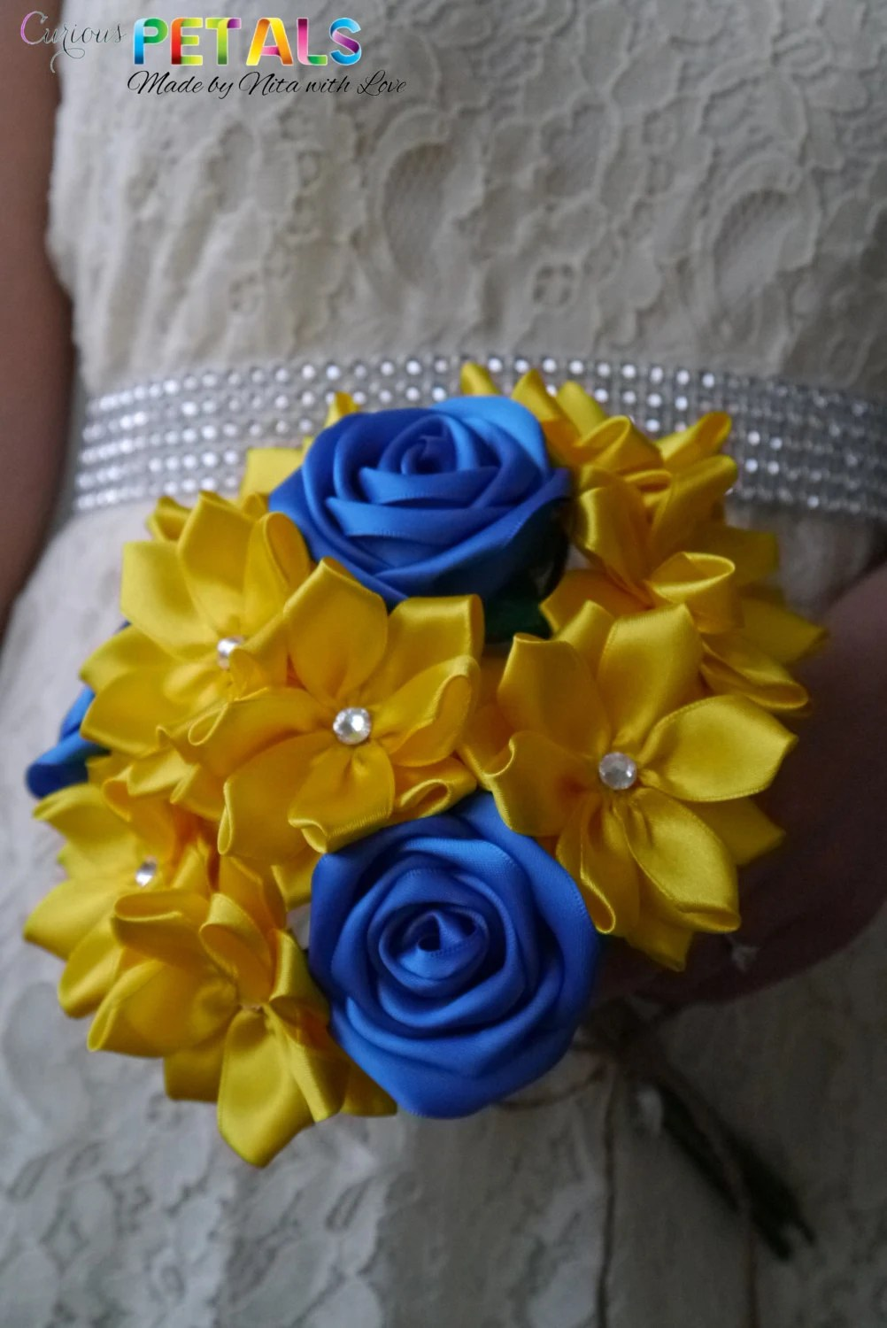 Blue & Yellow Satin Ribbo...