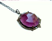 30% off SALE Amethyst colord Glass Necklace    Shabby Chic Cottage Style Mothers Day Outdoor Wedding Garden - TheBrassHussy