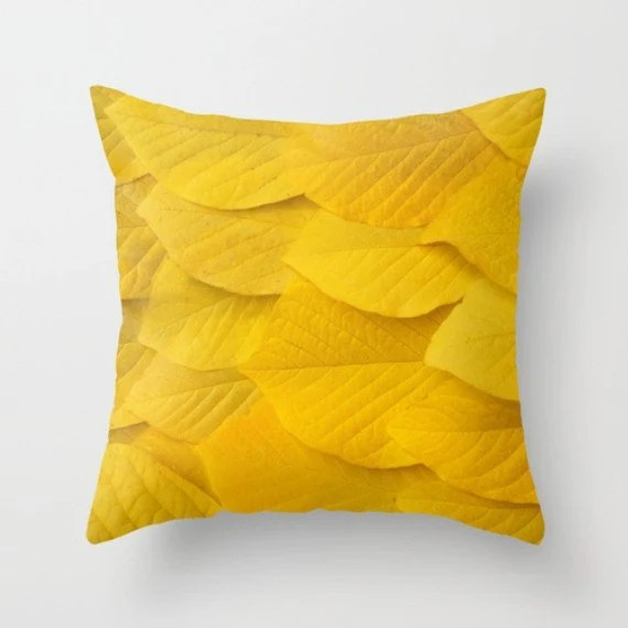 Yellow Leaves Pillow Cover Natural History Photography Yellow Leaf Autumn Fall Winter Is Coming Botany Pillow Cover - machelspencePHOTO