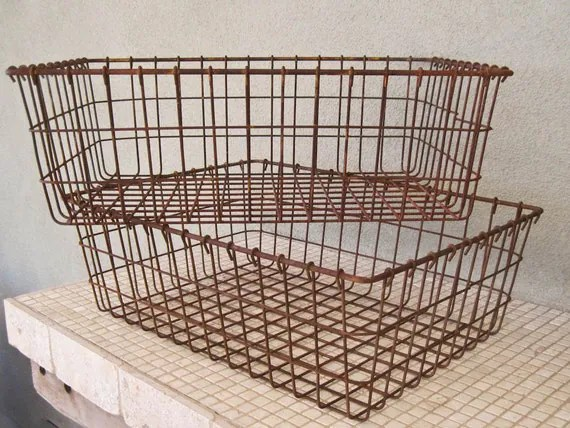 Industrial Wire Storage Baskets Set Of Two Rustic And Rusted