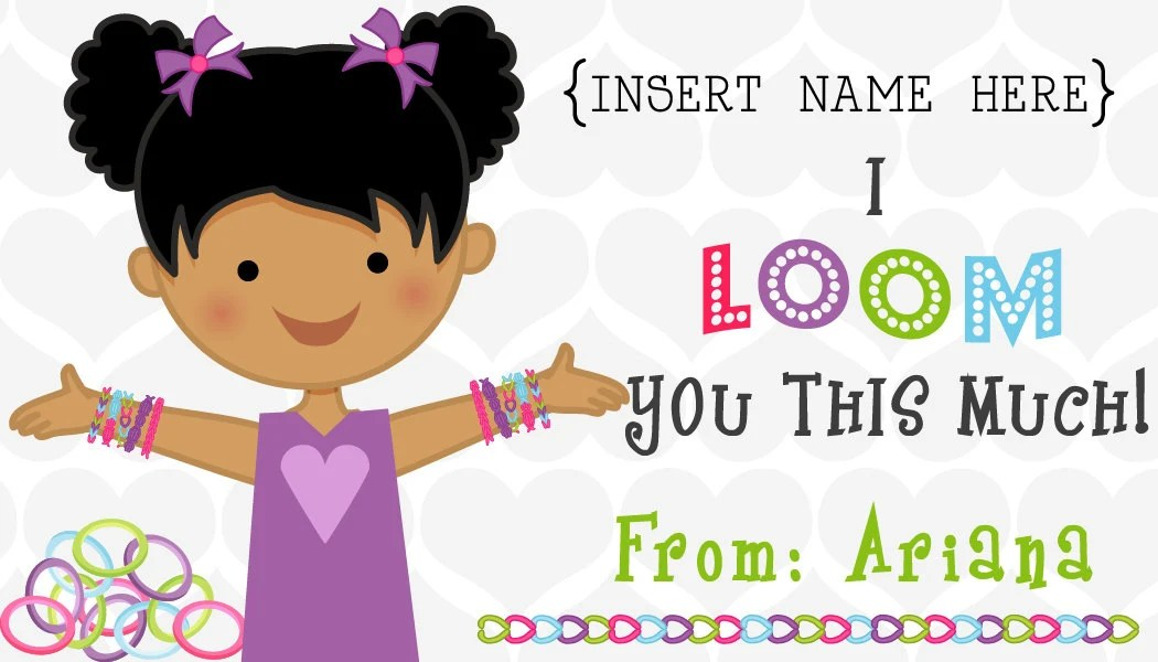 """50 Adorable 3.5""""x2"""" PRINTED Girl or Boy Loom Band Glossy Valentine's Stickers"""