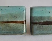 Ceramic Drawer knobs/pulls -  Small Square Aqua Blue/Brown - ClayismyArt