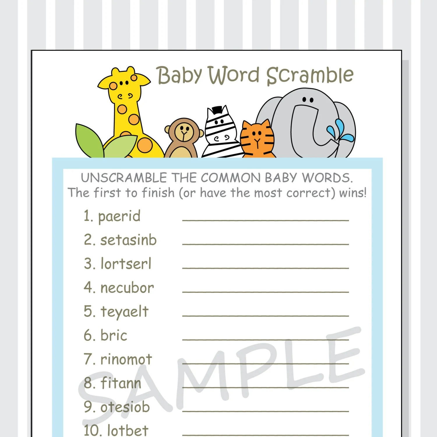 Baby Word Scramble Printable Game Cards Baby Shower Diy Boy