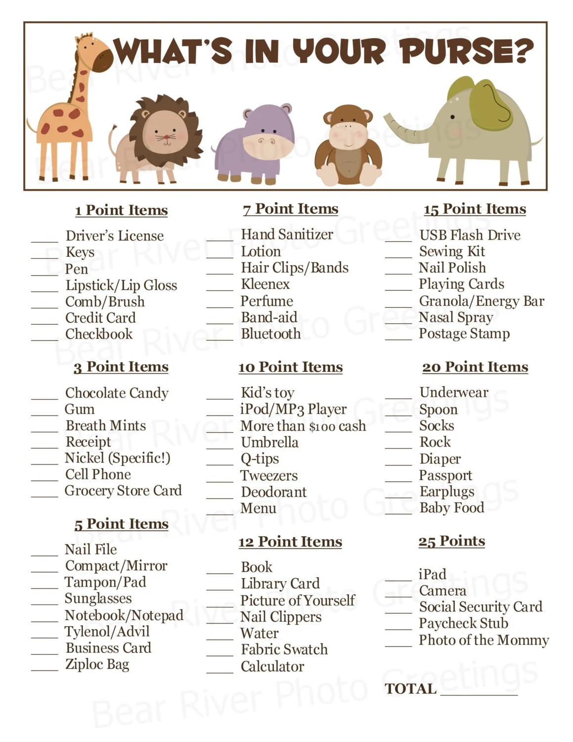Instant Download What S In Your Purse Baby Shower Game
