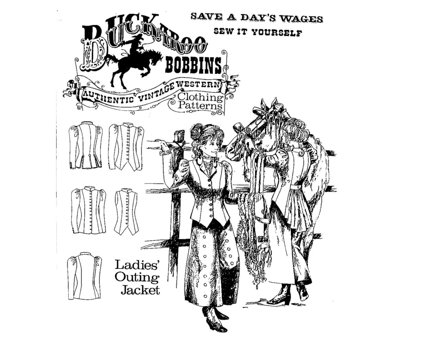 Buckaroo Bobbins La S Outing Jackets Sewing Pattern Vintage