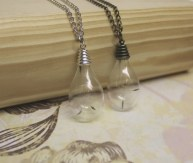 Dandelion Wishes -  Blown Glass Necklace in Antique Silver or Antique Bronze