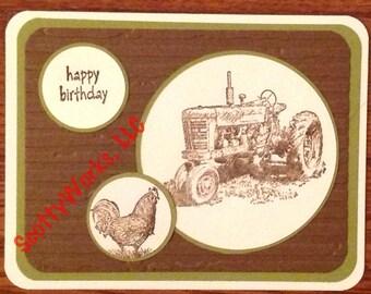birthday card for man, birthday card for farmer, tractor birthday card