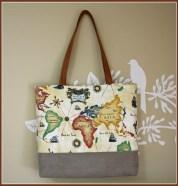 World MapTotebag / Handbag / Purse with map printed fabric