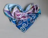 Silk scarf painted in decorative symbols. Shadows of blue and purple long scarf. Handpainted scarves. Gingko leaves on silk scarf - klaradar