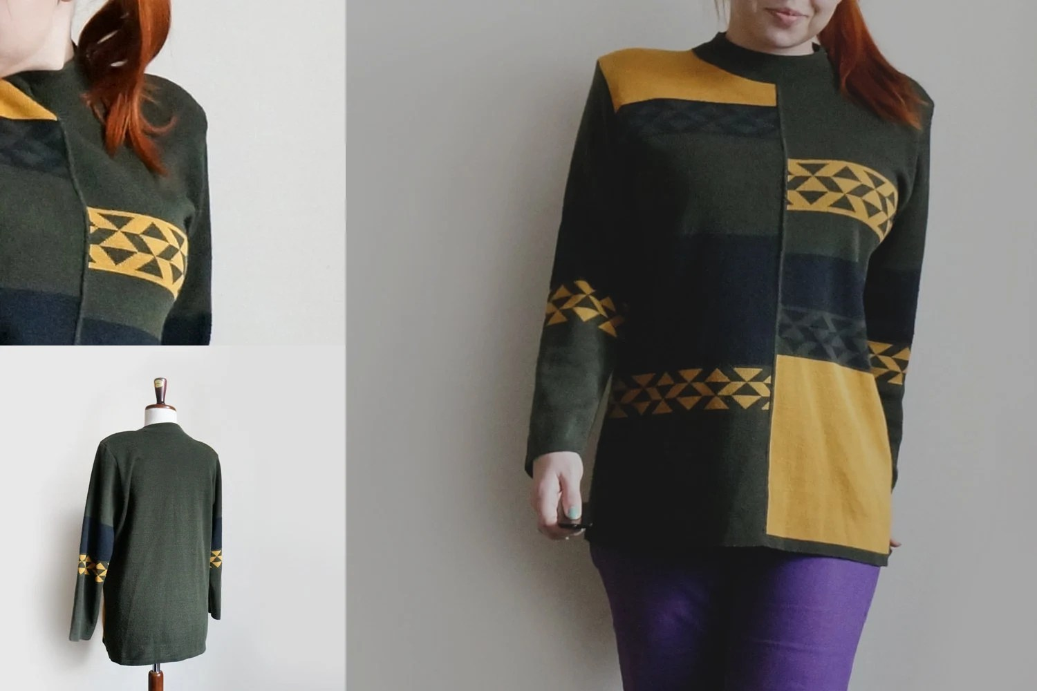 Vintage military sweater from 70s, geometric sweater with triangles, hipster sweater - plot