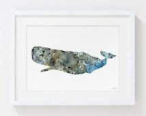 Watercolor Painting - Sperm Whale 5x7 Archival Print - Gray, Brown, Blue - Whale Art, Whale Print - Wall Art Home Decor Housewares