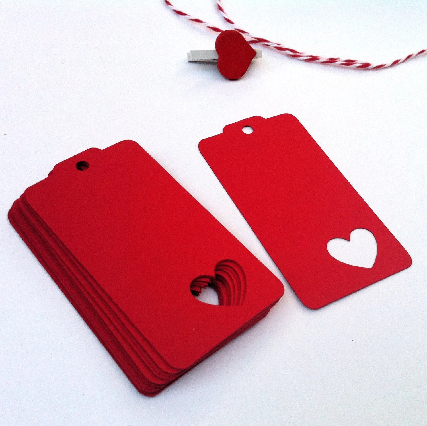 Simply Red Heart Gift Tags With Heart Cutout For Valentines