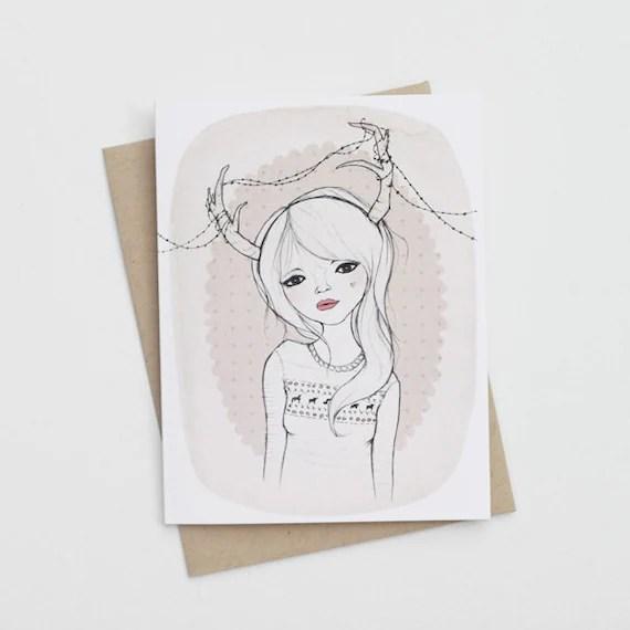 Antler Girl Card
