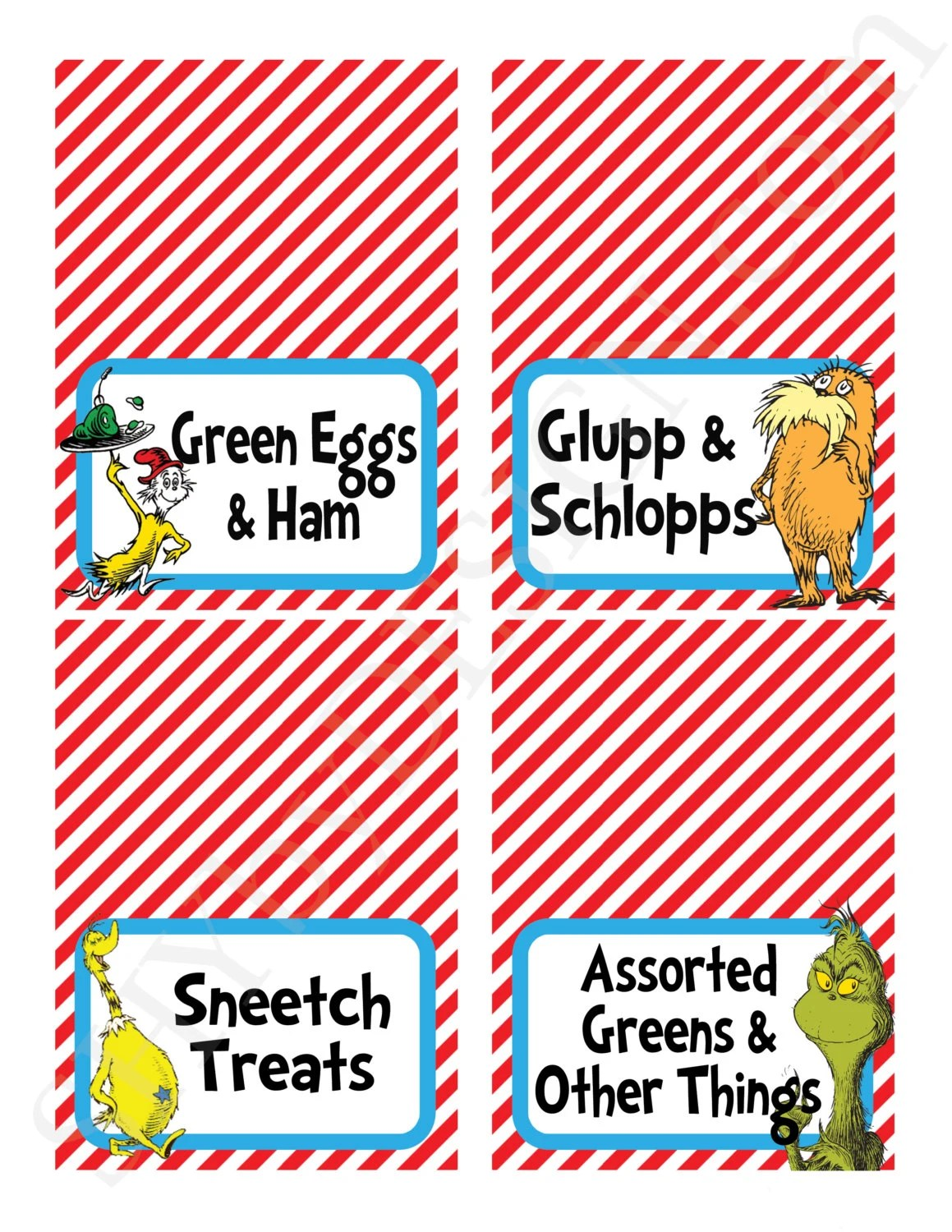 Add On 1 Page Of Customized Printable Dr Seuss By Shydesign