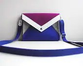 Geometric Navy Blue Gray Purple White Wool Felt Genuine Leather Messenger Crossbody Bag - FancyfeltShop