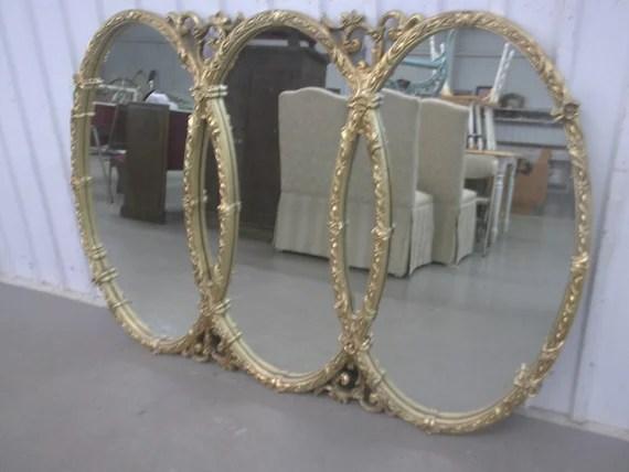 Large Ornate Triple Wedding Ring Gold Framed Mirror