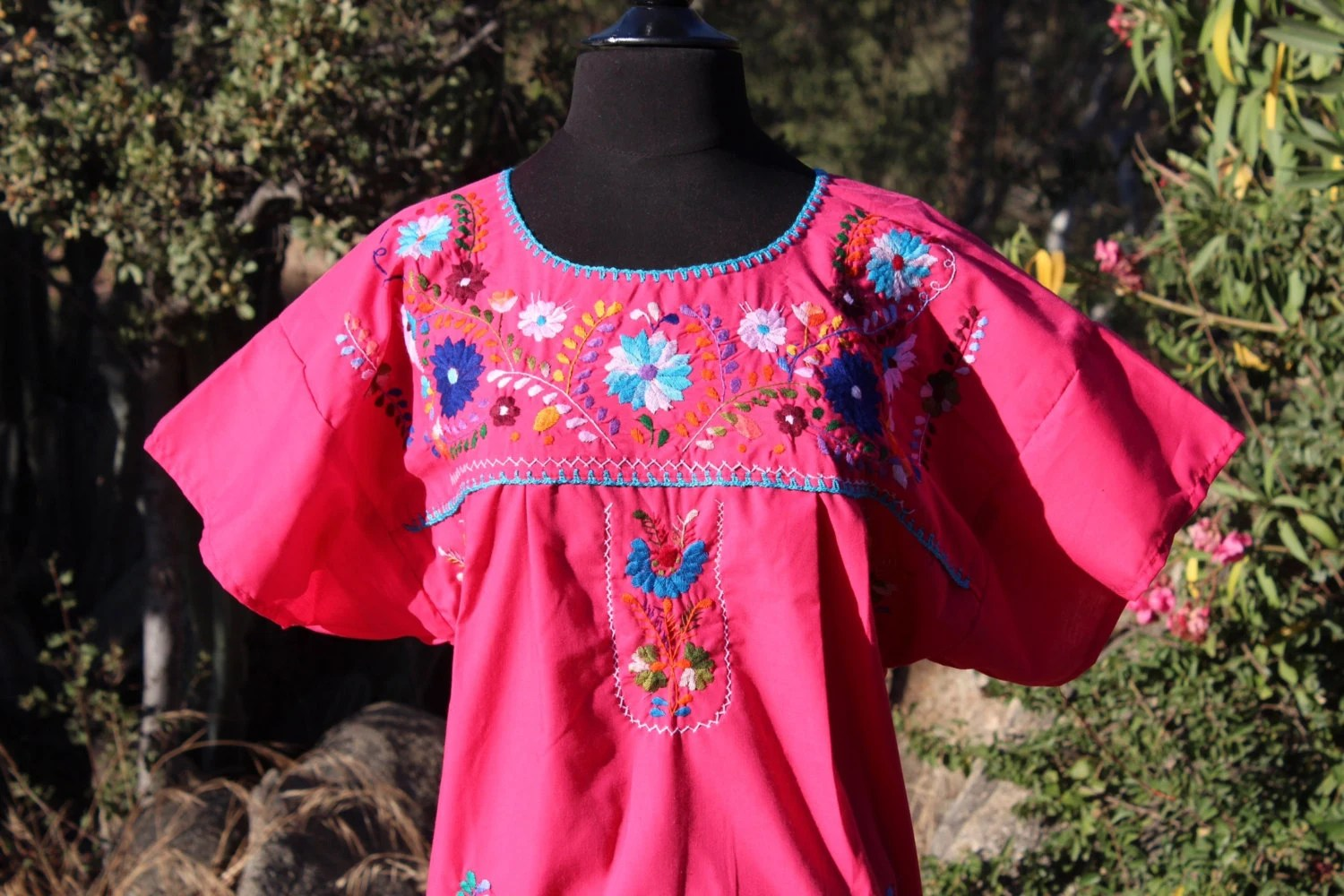 Frida Style Colorful Mexican Dress With Embroidered Flowers