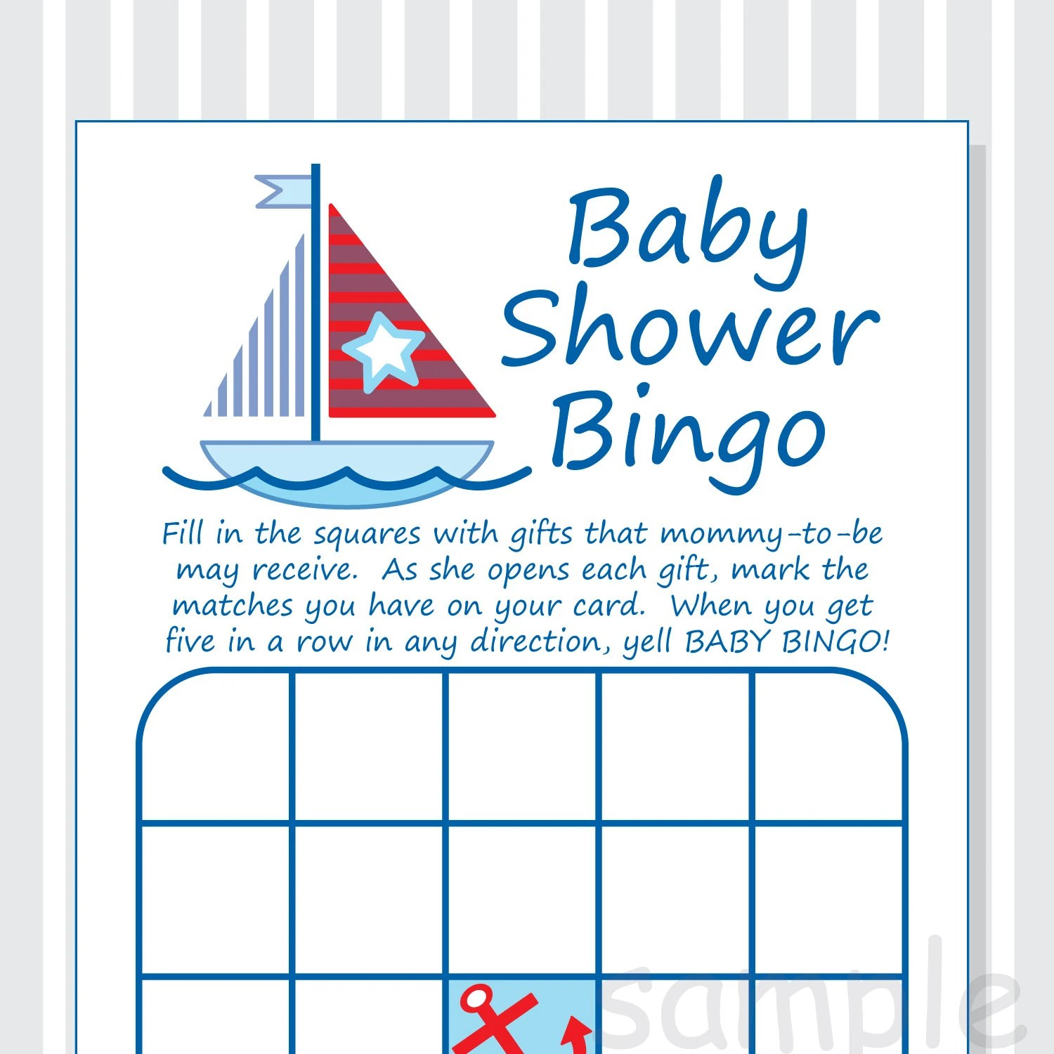 Diy Nautical Baby Shower Bingo Printable Cards