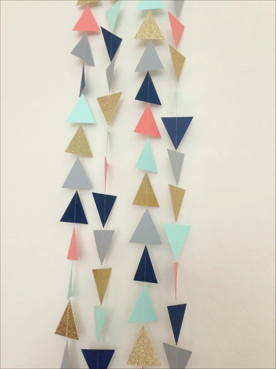 Gold Mint Navy Coral Grey Triangle Garland. Geometric Garland. Paper Backdrop. Tribal Party. Baby Shower. Birthday Garland. Photo Prop