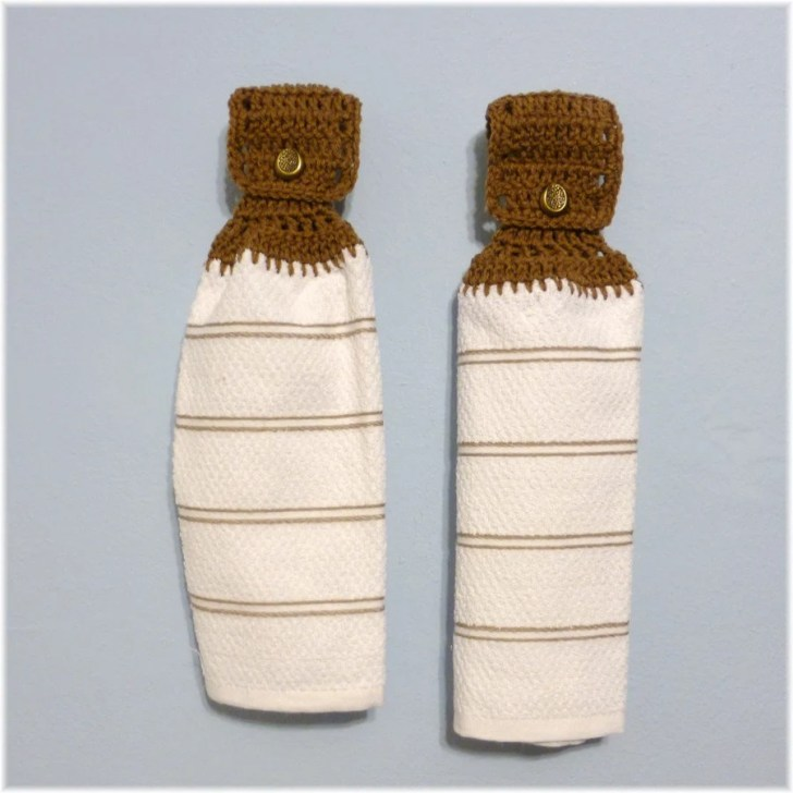 Hanging Kitchen Towels Crochet Button Top Matching Pair
