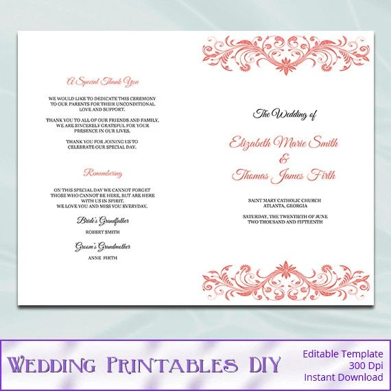 Catholic Wedding Program Template Diy Printable Coral Order