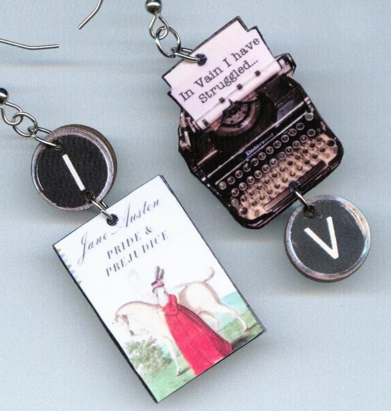 Book EARRINGS Pride and Prejudice Jane Austen quote vintage Typewriter