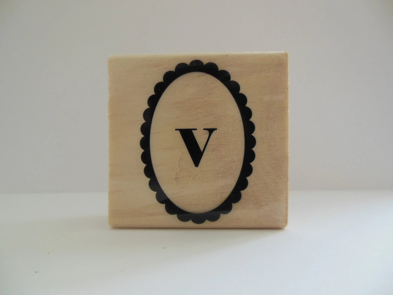 Letter V Rubber Stamp Paisley Monogram Collection Alphabet