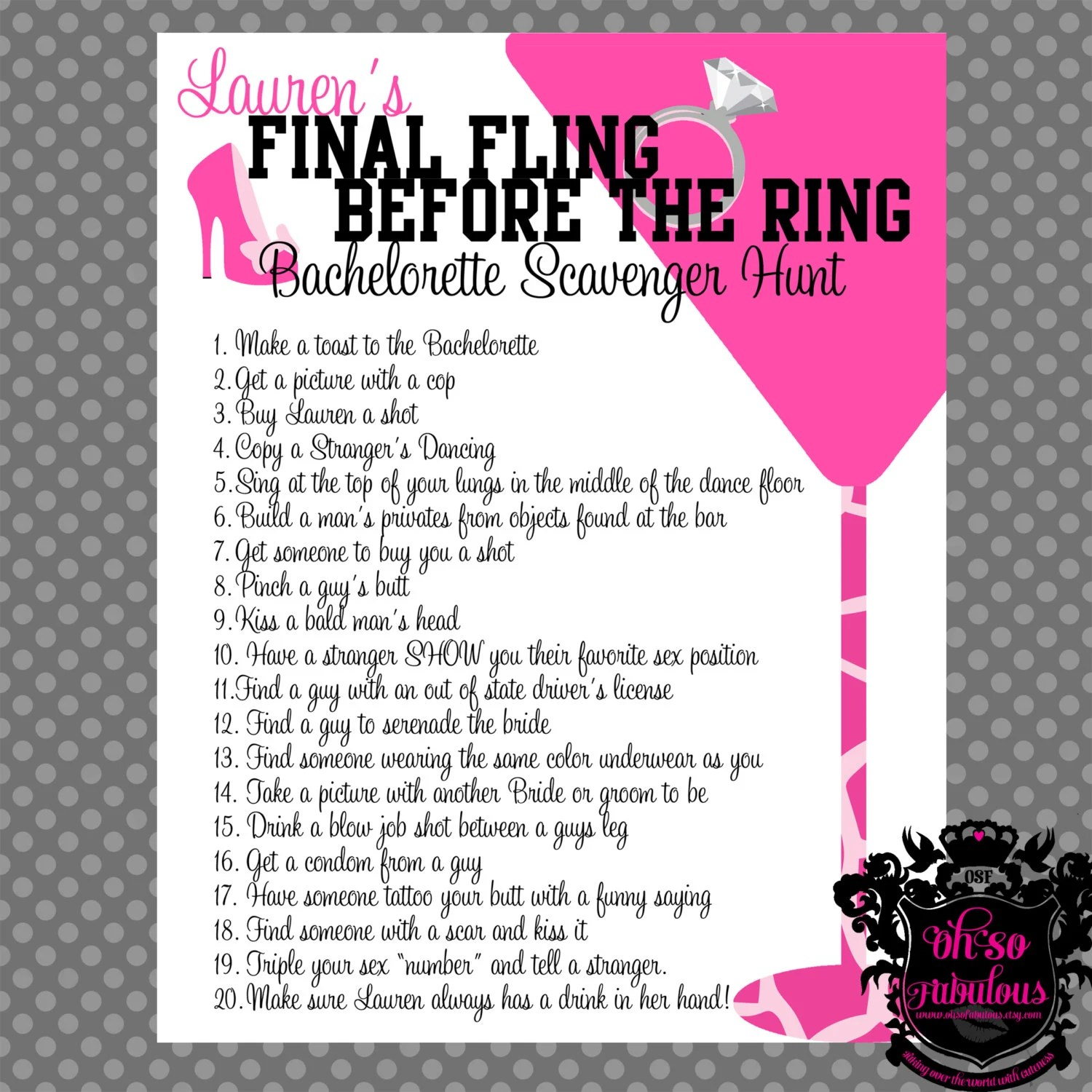 Wild And Crazy Bachelorette Party Scavenger Hunt